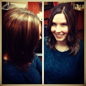 Ombre hair color: fading from dark to light.